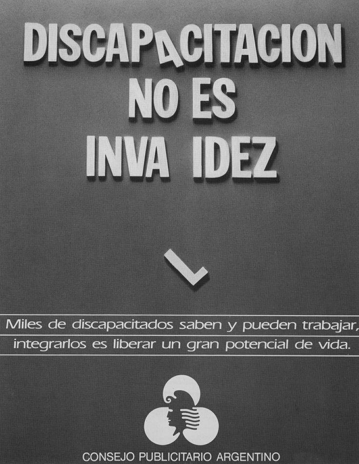 """""""Discapacitación no es invalidez""""-1987"""