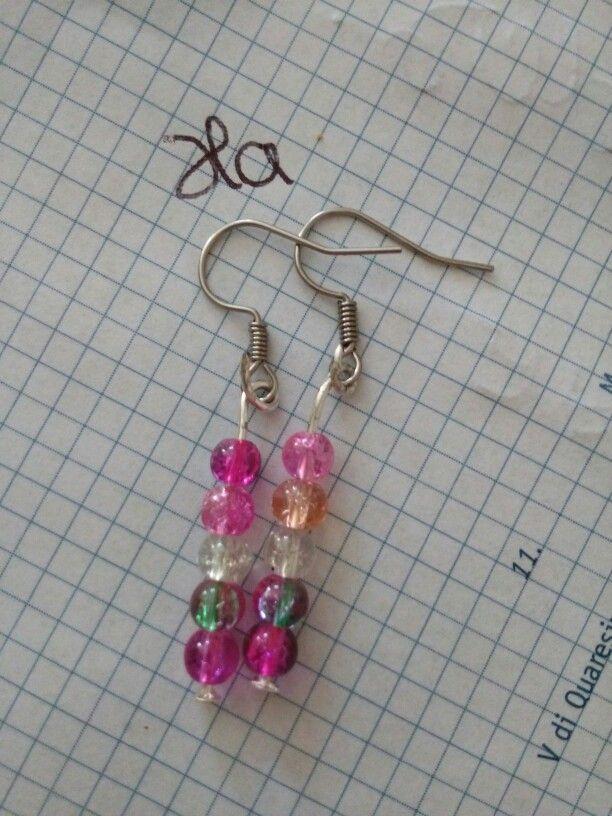 Pendenti perline rosa e trasparenti