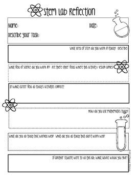 FREE STEM LAB REFLECTION PRINTABLES - TeachersPayTeachers.com