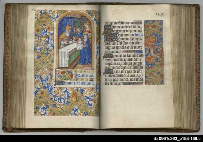The very beautiful French book of hours has been on permanent loan to the State Library from the Anglican Diocese of Adelaide since 1983. The Christian monastic tradition of reciting psalms and prayers at regular times each day was also followed by ordinary lay people for whom books of hours were created by skilled craftsmen. This illustration depicts the presentation of the infant Jesus in the Temple of Solomon, Jerusalem, to the priest Simeon.