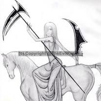 The Silent Rider is a horse-woman - she bears a sickle like another well known horse-man. But the silent rider is not death. Instead she heralds the harvest with all the solemnity due to the end of another cycle.  This print is limited to 50 numbered copies, signed by the artist. Original artwo...