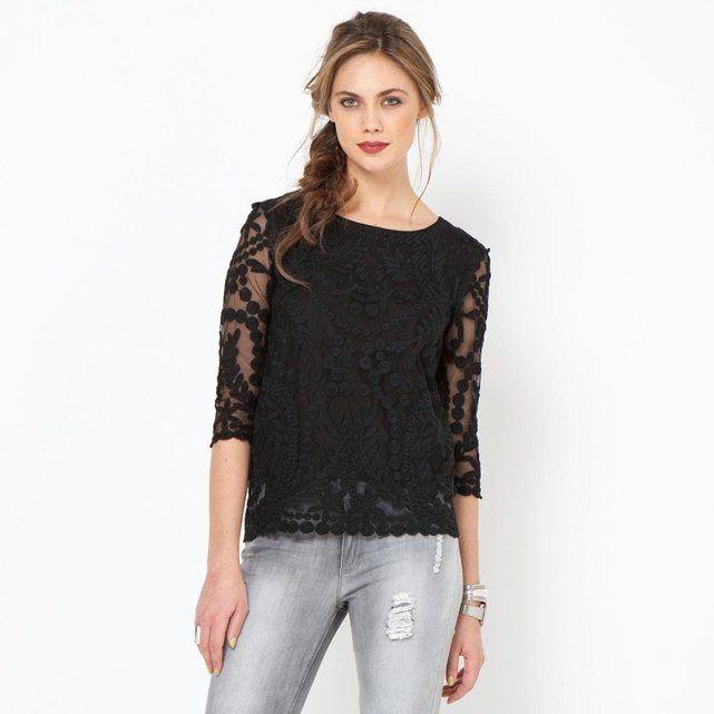 DESIGN - T-shirt oversize en maille à fleurs et bordures côtelées - MultiAsos X0t6xEt9r