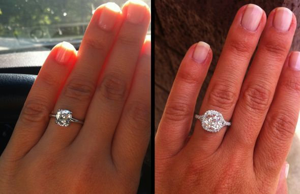 Before and after: the power of a halo setting. THIS is why every man should get a halo setting.