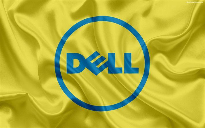 Hämta bilder Dell, emblem, Dell-logotypen, gult silke flagga