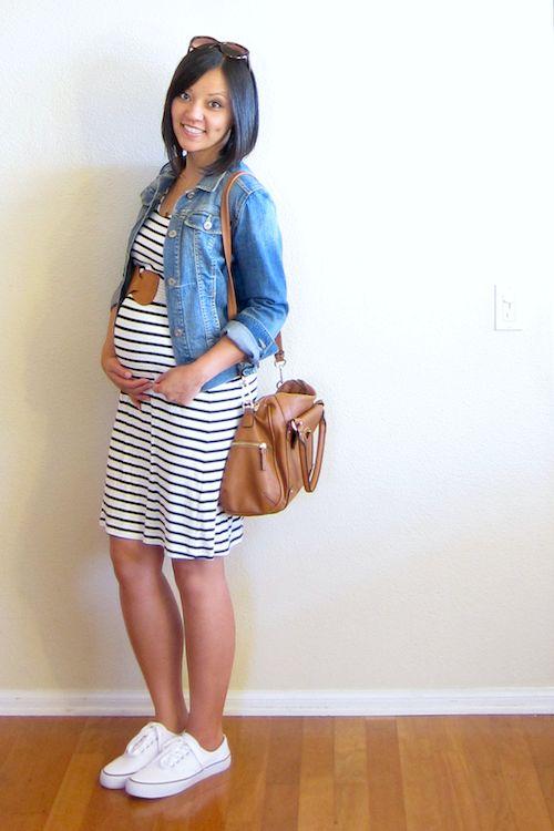 stripes + sneaks - maternity style