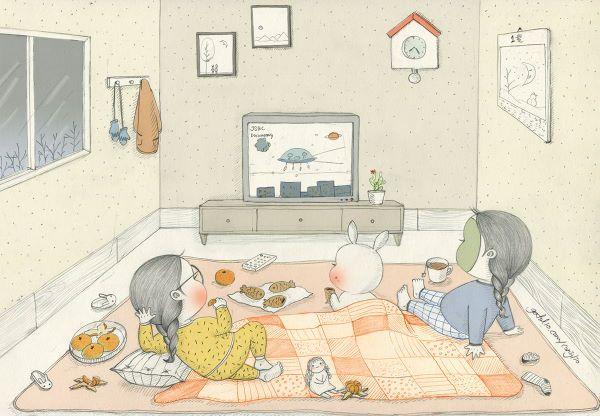 추운 날엔 역시 집에서 뒹굴뒹굴하는 거야. 손이 노랗게 될때까지 귤도 까먹고,  좋아하는 텔레비전도 실컷 보고.. 따끈한 이불 밑에 쏘옥!  When it's so freezing outside, it's best to be home! With things I love to eat,  Our favorite tv show,  and warm cosy blanket!