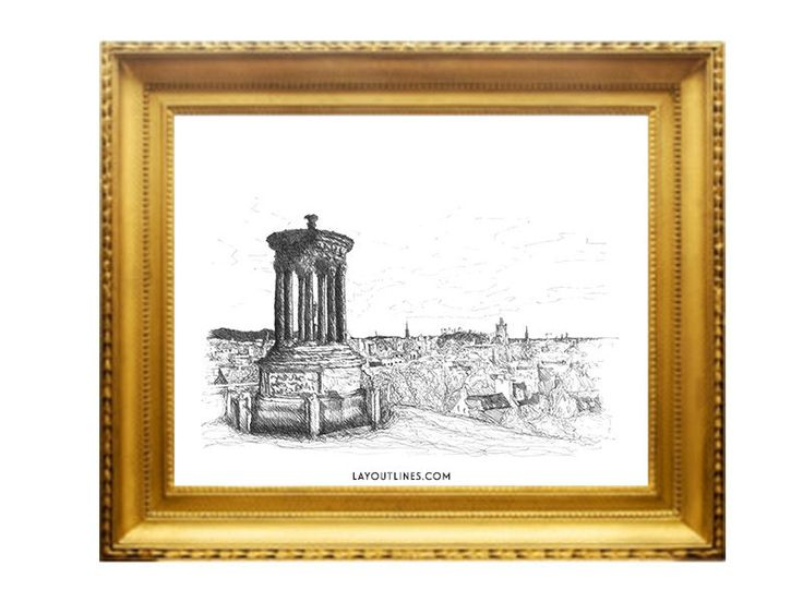 CALTON HILL print from original ink hand by shopLAYOUTLINES