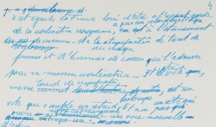Discours sur l'abolition de la peine de mort : mise en ligne du manuscrit de Robert Badinter