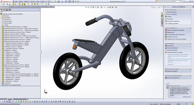 """""""Drais' R"""" by Fred   Cette draisienne est """"modulable"""" et avec le même cadre (pièce maitresse de 2 roues) il est possible de changer le guidon et de mettre un guidon droit type enduro, comme il est possible également de changer le bras arrière. Réalisé sous SolidWorks 2013. CAO, CAD, 3D, Design, Lynkoa, draisienne"""