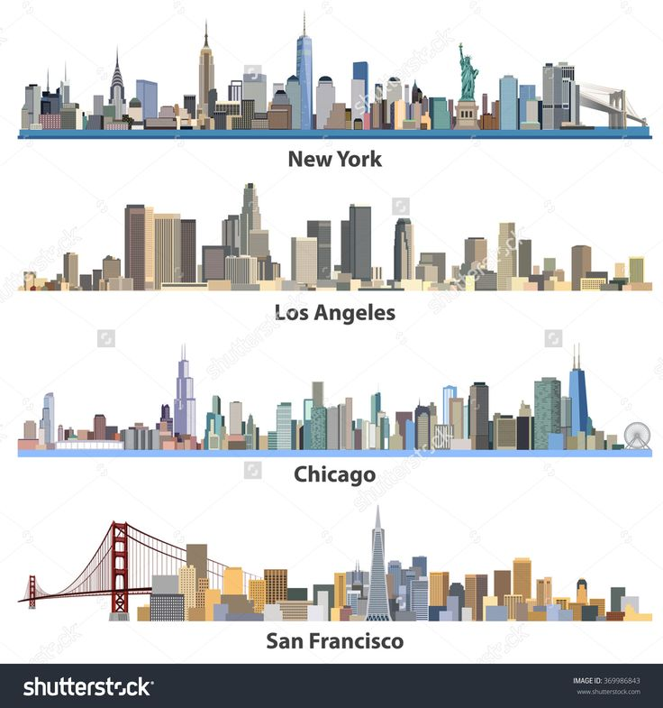 Set Of Abstract United States Urban City Illustrations - 369986843 : Shutterstock