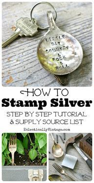 How to Stamp Silverware - the cutest DIY stamped silver spoon keychain kellyelko.com #diy #crafts #christmasgifts