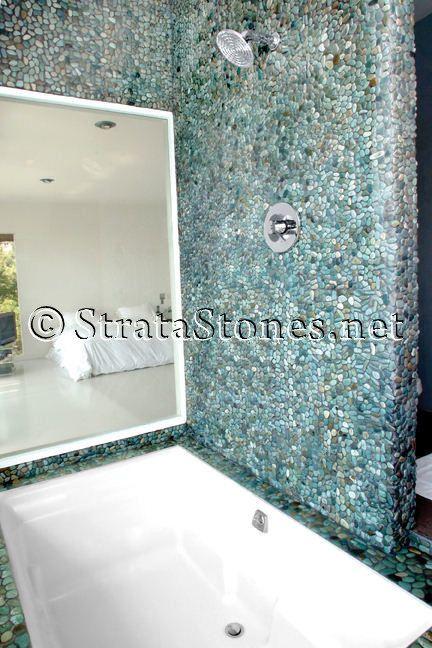 28 best showers images on pinterest pebble tile shower for Installing river rock tile