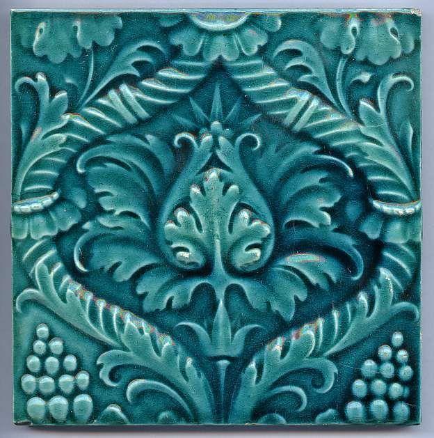 "Art Nouveau Majolica Ceramic Tile ~ ""Cyan Flowers"", circa 1900"