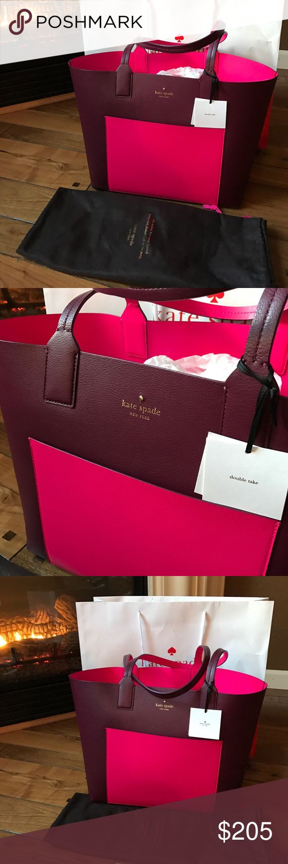 Kate spade reversible tote with Dustbag This is reversible tote burgundy and fuschia combination. And it comes with the dustbag. 2 purses in 1. Neiman Marcus has this purse on sale for $223 plus tax. kate spade Bags Totes