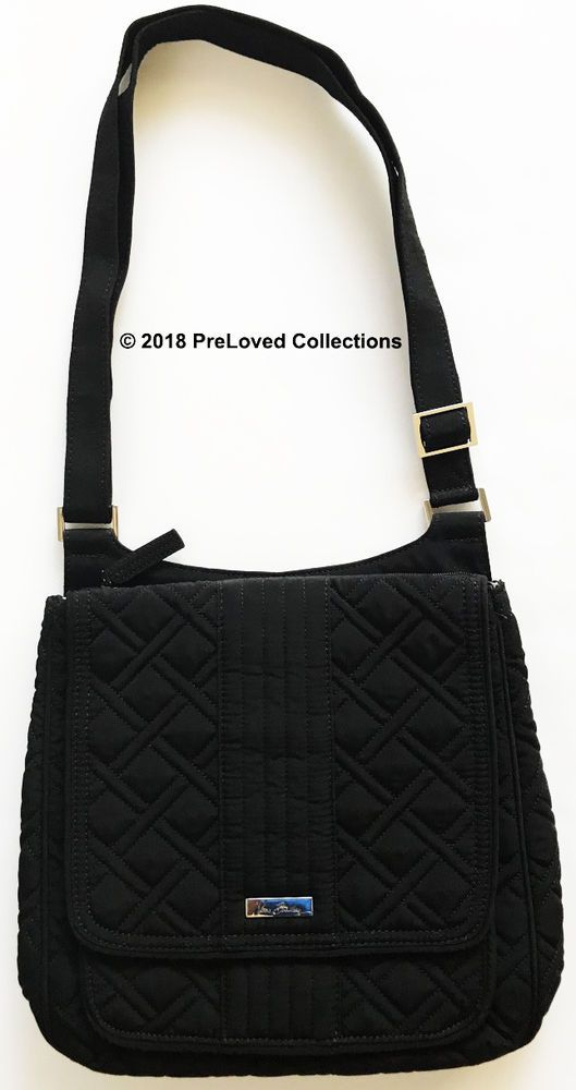 Vera Bradley Microfiber Mailbag Crossbody Bag Classic Black ... ea7e6731f29c7