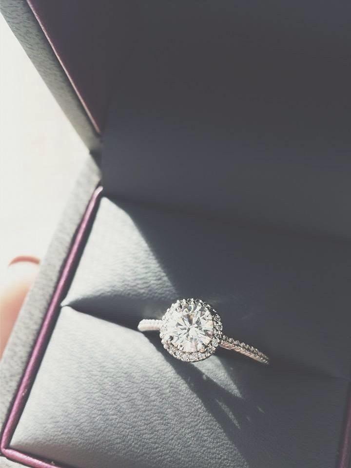 Soft, feminine, elegant and unique engagement ring with Halo setting