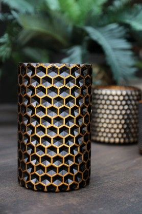 Honeycomb Black & Gold Tealight Holder - Large