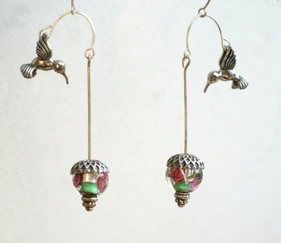 Silver Hummingbird Earrings Hovering Over By Mentalembellisher