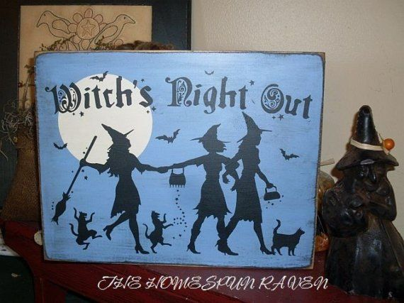 Witchs Night Out Primitive Handpainted Wood by thehomespunraven, $24.00