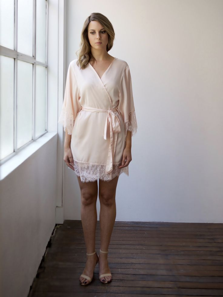 Pretty blush pink  bridal robe for brides, bridesmaids or engagement parties. Designed by Bronte & Clyde - repin on your inspo board now!