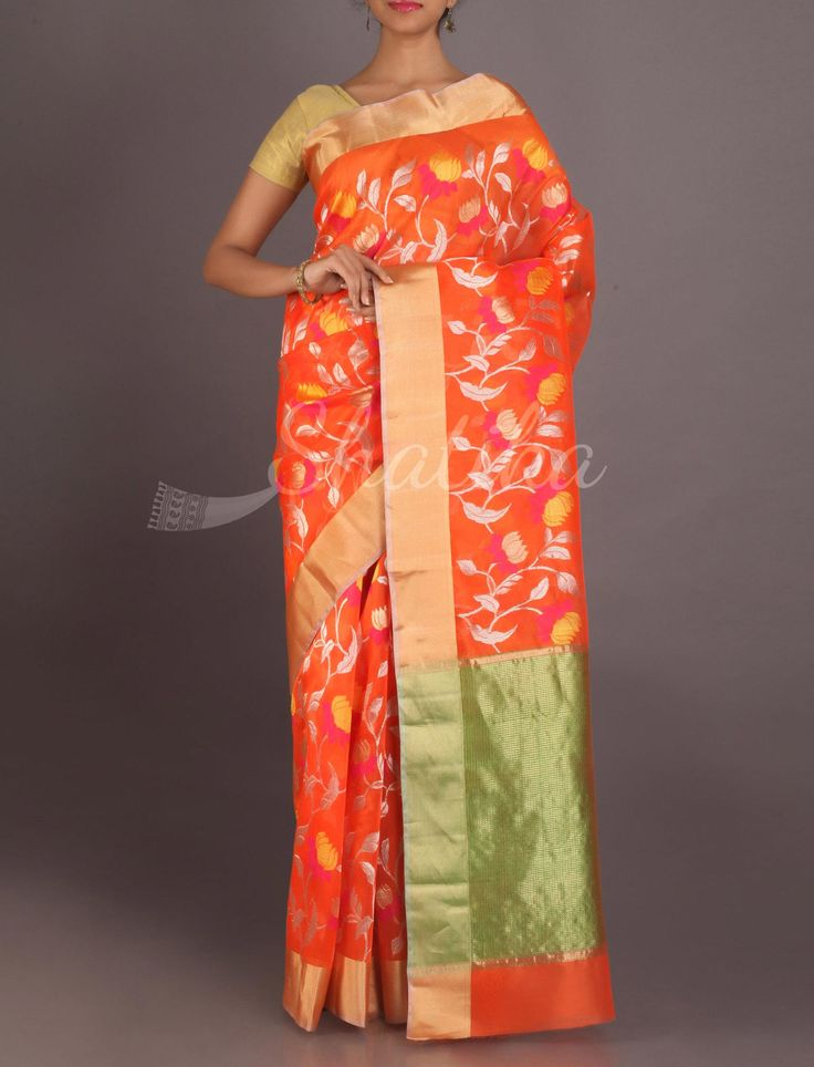 Adriti Fiery Orange Gold And Silver Full Brocade Real Zari #ChanderiPattuSaree