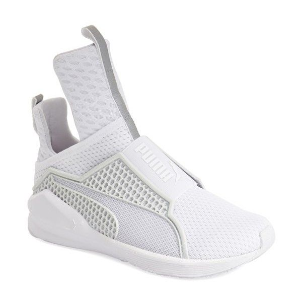 PUMA by Rihanna 'Fenty' Trainer ($180) ❤ liked on Polyvore featuring shoes, sneakers, white, slip-on shoes, mesh sneakers, puma shoes, white slip on shoes and white sneakers