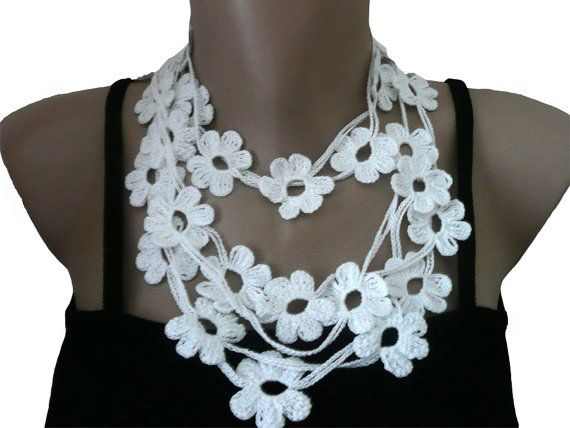 Crochet Flower Necklace Lariat or Scarf Bracelet by atinqnka, $16.00