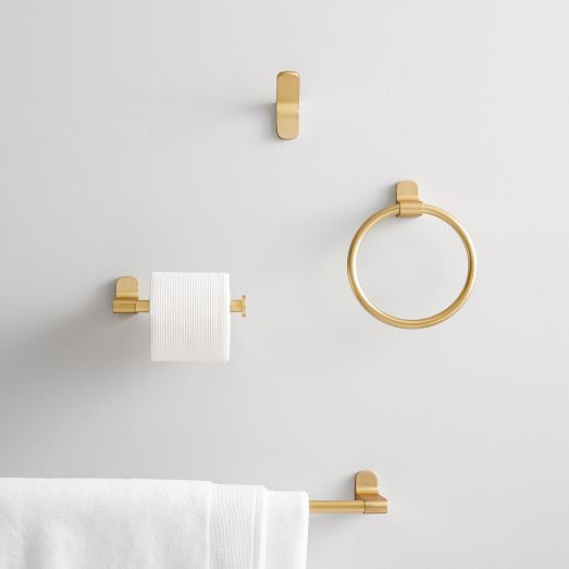 Modern Overhang Bath Hardware Antique Brass In 2020 Mid Century Bathroom Bathroom Hardware Bath Hardware