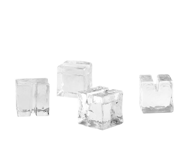 Slab Glass Cube Place Card Holders, Set of 4