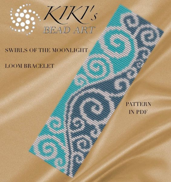 Bead loom pattern - Swirls of the moonlight LOOM bracelet PDF pattern instant download