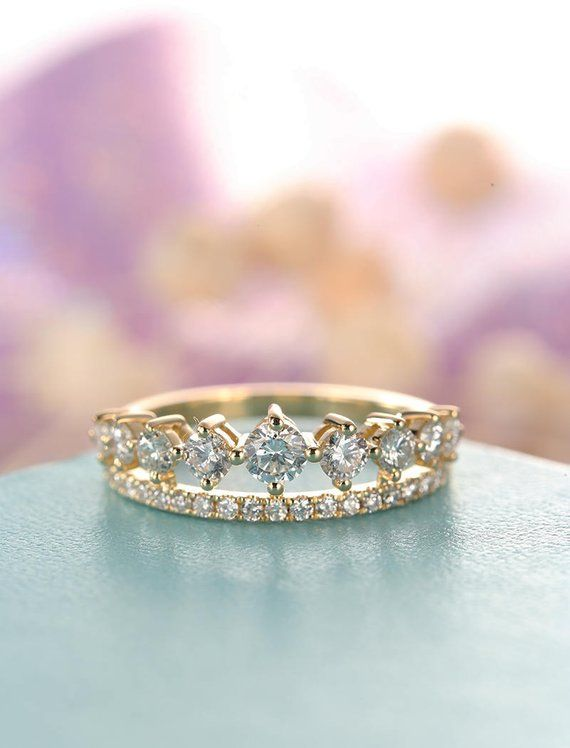 Unique Cluster Engagement Ring Moissanite Crown Double Wedding