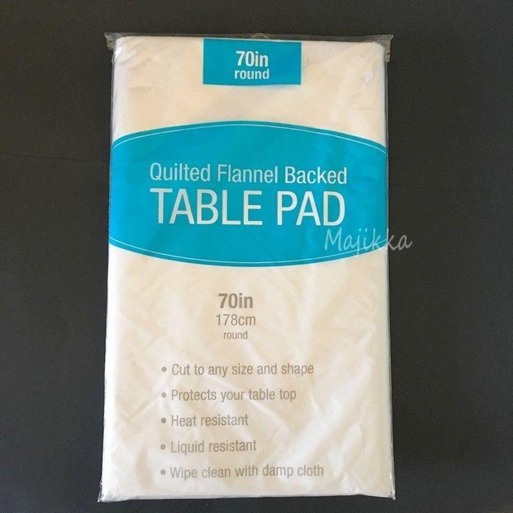 "Elrene Dining Table Protector Pad 70"" Round Flannel Backed Vinyl Spill Resistant #Elrene"