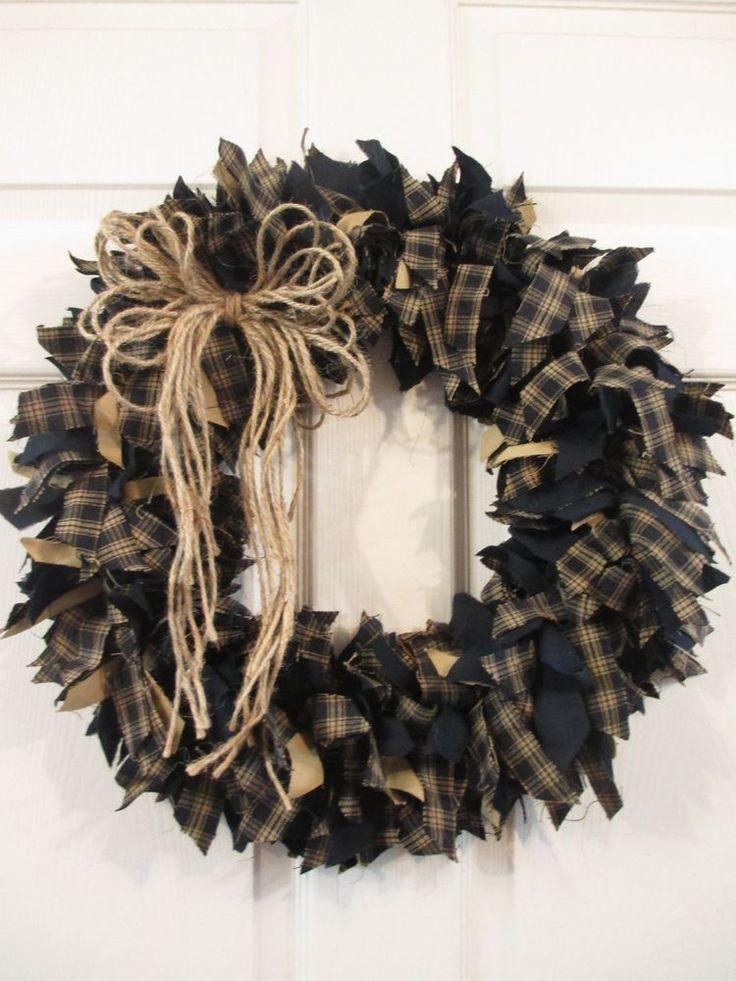 Handmade Primitive Fabric Rag Wreath Fall Autumn Black/Dark Navy Tan WLD #Handmade
