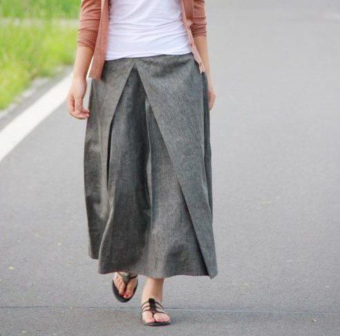 Pleated Linen Long Skirt/ Grey by Ramies on Etsy