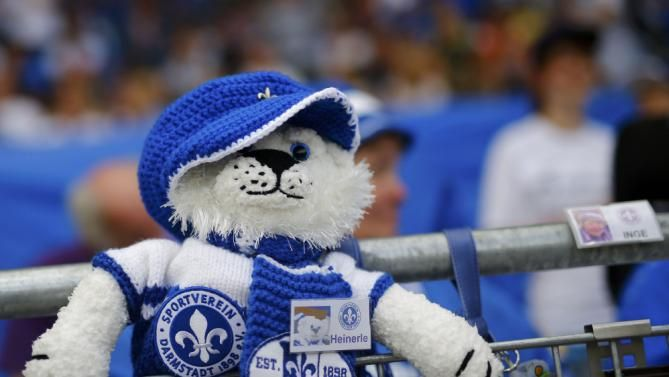 A mascot of SV Darmstadt 98 is seen before their German first ...