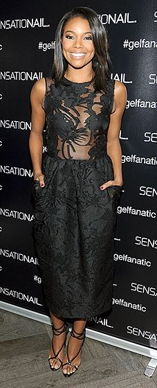 Gabrielle Union chose a sultry black gown with embroidery on the bodice to celebrate her role as celebrity brand ambassador.