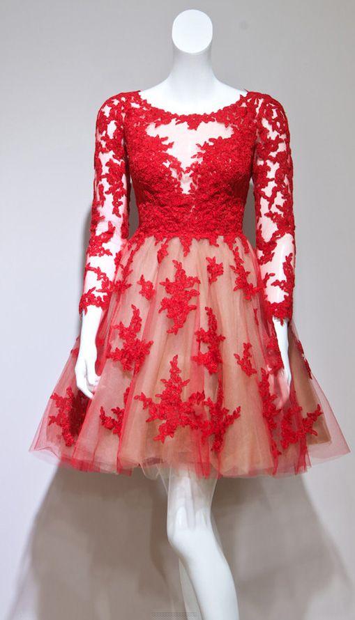 Long Prom Dresses 2017, Red Prom Dresses, Prom Dresses 2017, Short Prom Dresses, Long Sleeve Prom Dresses, Prom Dresses Red, Red Long Prom Dresses, Long Sleeve Short Prom Dresses, Prom Dresses Long Sleeve, Homecoming Dresses 2017, Long Sleeve Dresses, Red Long Sleeve Prom Dresses, Short Homecoming Dresses, long sleeve prom dresses,Red A-line Scoop Short Mini Tulle Homecoming Dress