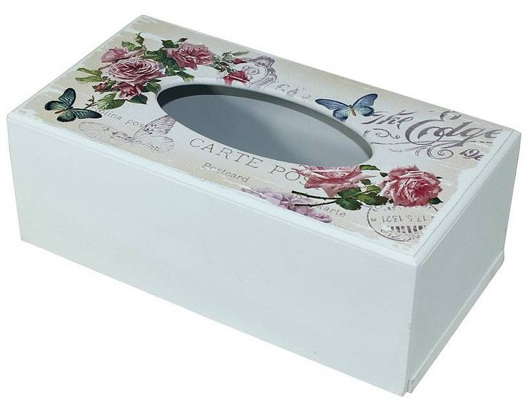 Dřevěná krabička na ubrousky s květinami