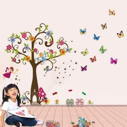 Walplus WS1007 - Adesivi da parete, motivo vario: angeli, farfalle ed albero, multicolori: Amazon.it: Casa e cucina