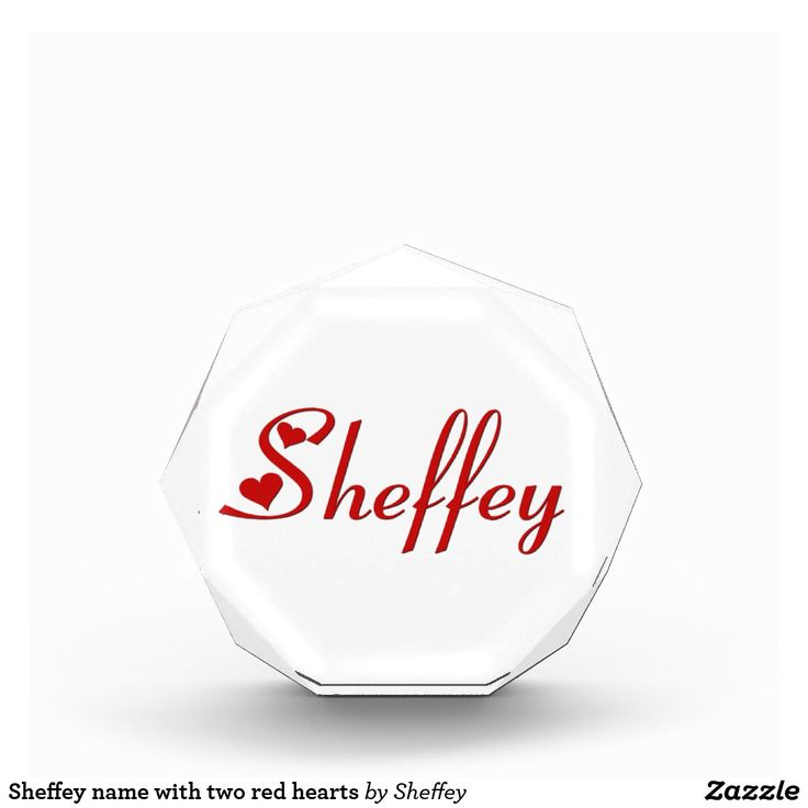 Sheffey name with two red hearts acrylic award - nice anniversary or wedding gift -