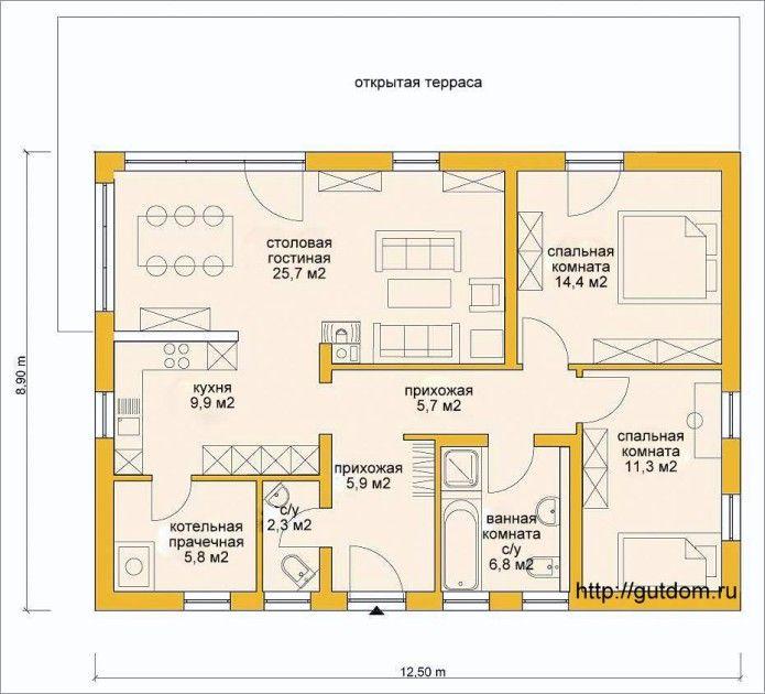 план одноэтажного дома Проект ГБ55