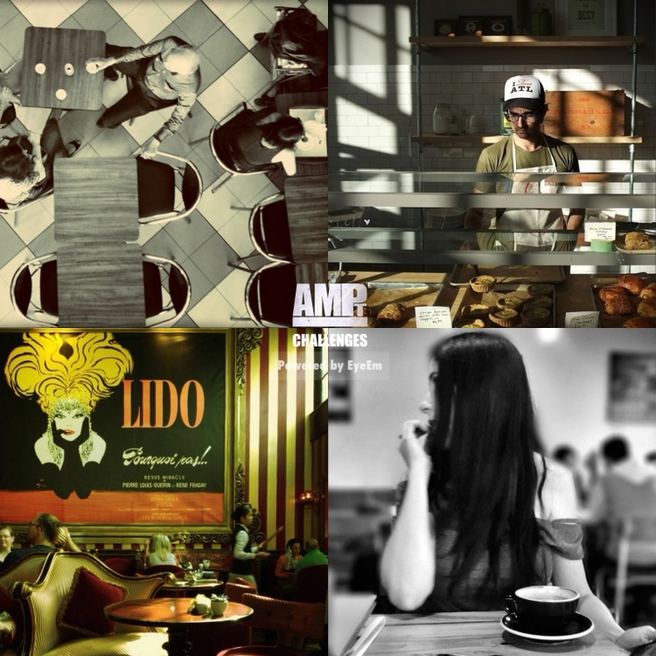 """Thank you to all who submitted to the AMPt - Cafe Culture album on EyeEm. Some fabulous images of the different coffee shop/cafe cultures around the world!   For now, we would like to feature 4 images that the judges selected. These submissions all received more than one nomination by the panel of judges and have less than 30 """"likes"""". Please go to their feeds to congratulate them:  (Clockwise from top left):  @ norminha_me  @ texturl  @ monochromatic  @ AltaKW"""