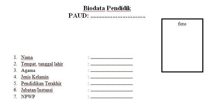 Dokumen Contoh Format Biodata Tenaga Pendidik Paud Tahun Ajaran