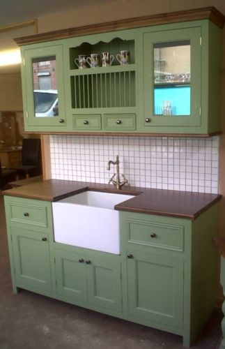 solid pine farrow and ball painted free standing kitchen sink unit and wall unit | eBay