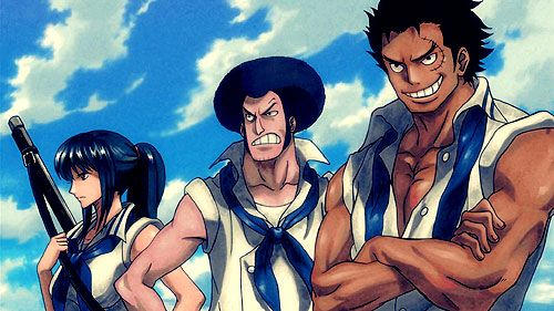 Garp, Sengoku, Otsuru when first joining Marine.