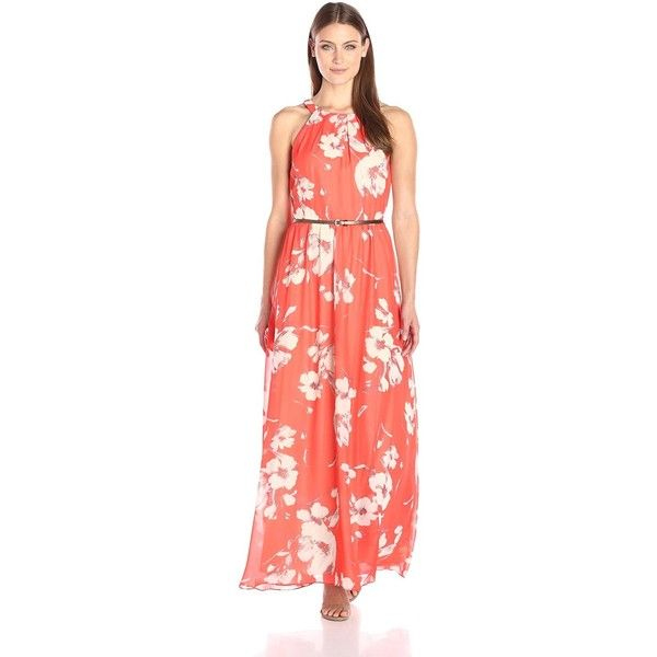 S.L. Fashions Women's Halter Neck Maxi Dress with Belted Waist ($69) ❤ liked on Polyvore featuring dresses, chiffon halter dress, floral halter dress, red halter dress, floral print maxi dress and halter dress