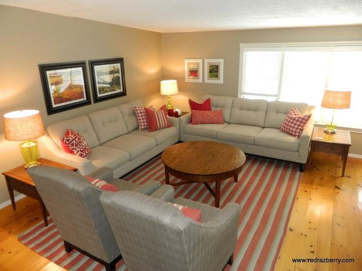Love the red family room with kid friendly finishes red for Kid friendly family room design