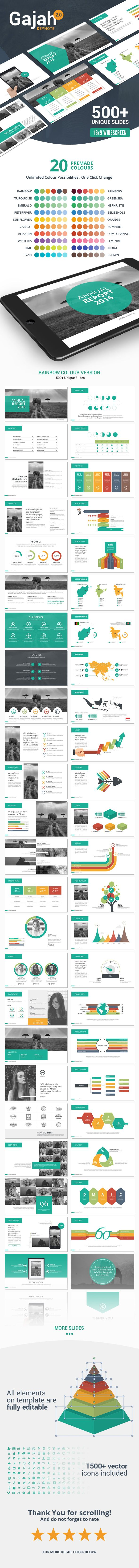Gajah is a powerful and modern keynote template contains 500 total unique slides with custom and clean design for multipurpose presentation business or personal use, such a creative industry, technology, finance, etc. All elements are editable from a shape to colour no need another software to edit it, all presentations include an animated slide and transitions.