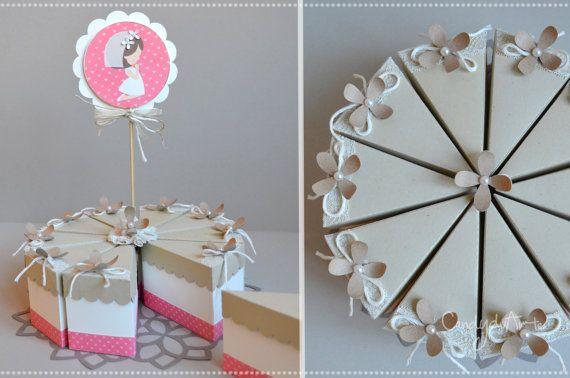 10 Fette di torta di carta - Scatoline porta confetti - Bomboniera
