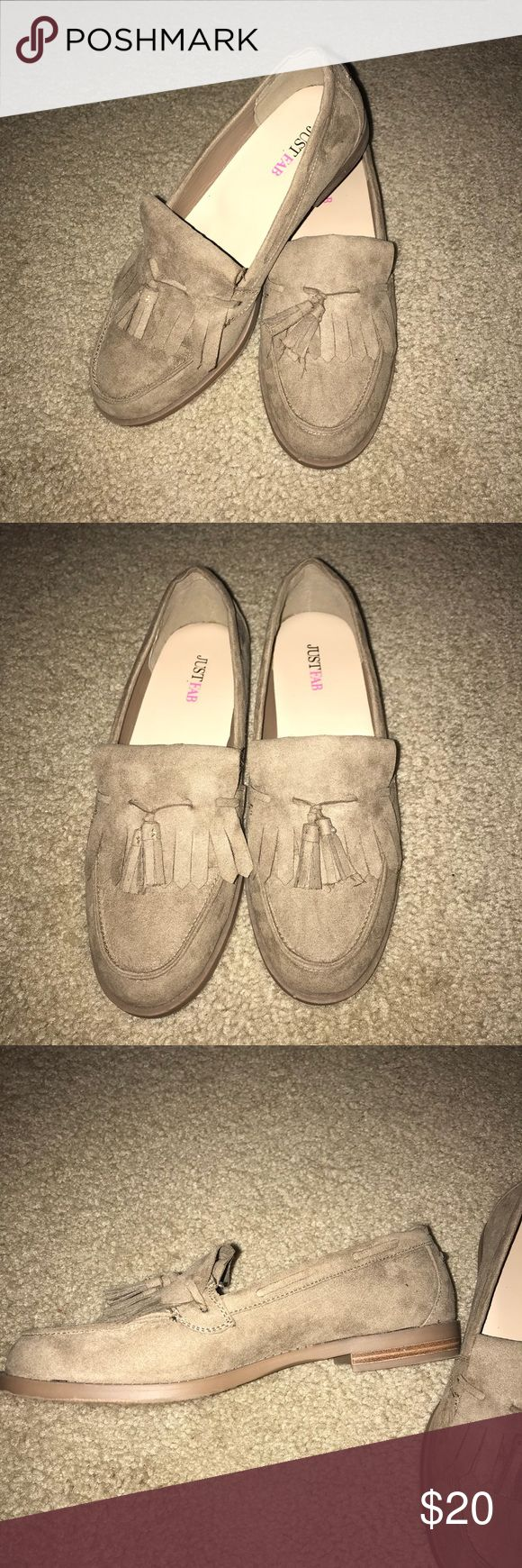 Just Fab Tan Loafers Size 8 Just Fab Tan Loafers Size 8, only worn once! In great condition, super comfy and stylish for any work day outfit. Outside is a tan suede like material with tassels. JustFab Shoes Flats & Loafers